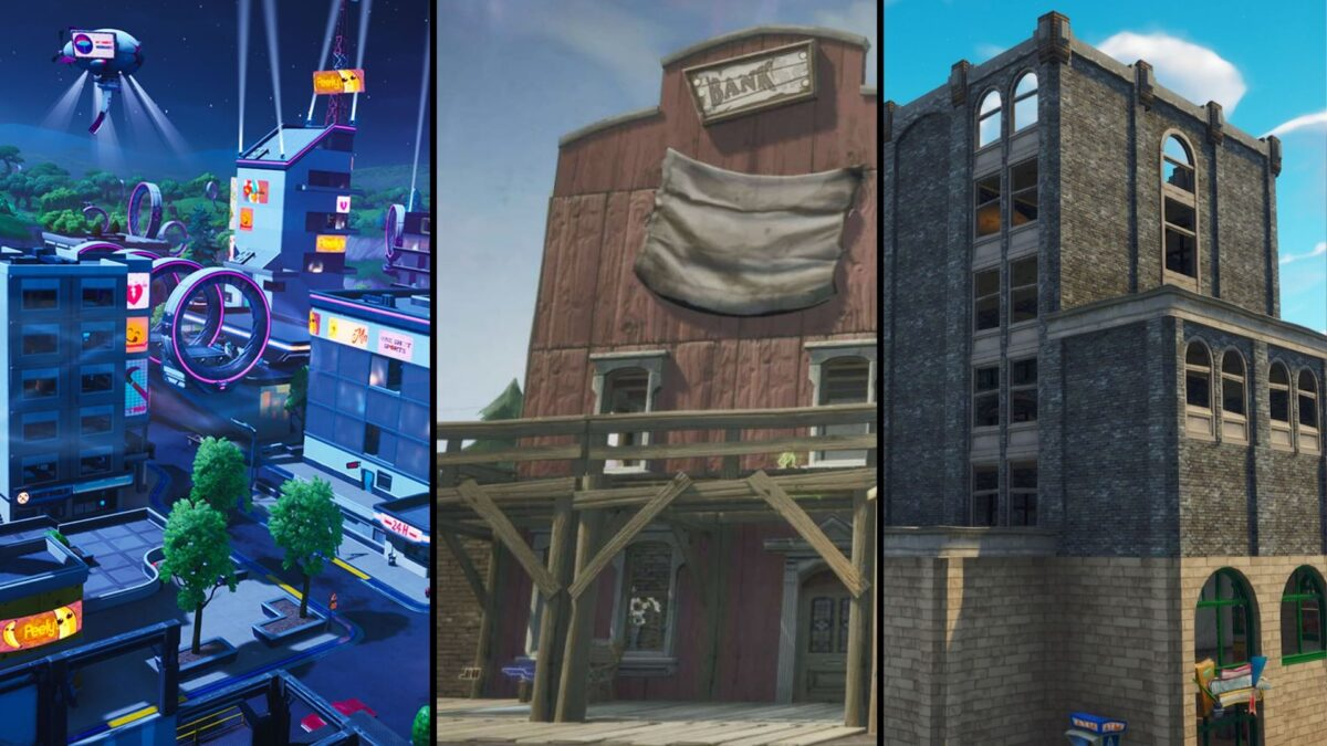 The evolution of Tilted Towers throughout Fortnite's seasons