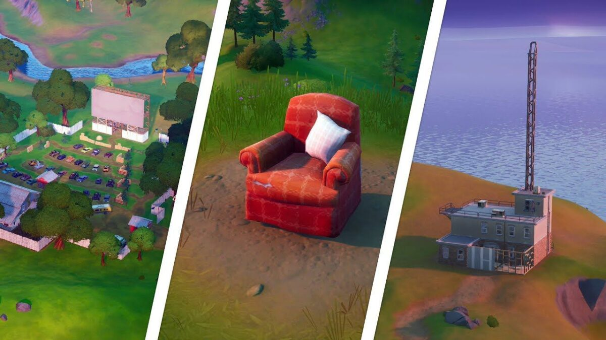 Fortnite: visit Solitary Armchair, Radio Station and Drive In Cinema