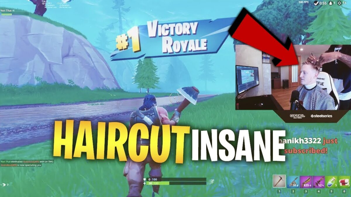 Tfue Wins a Fortnite Game While Getting Haircut Live With 100k Viewers